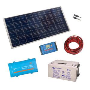 Kit cu panou 175W - invertor 375VA - baterii 1080Wh - 12V LCD